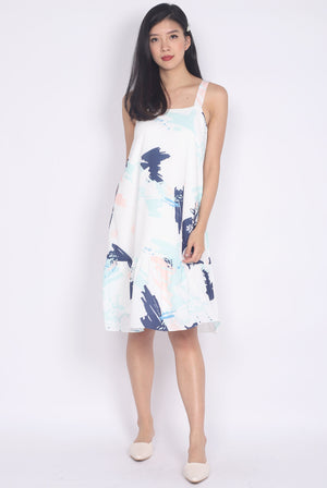 Fiore Abstract Drop Hem Dress In Navy Blue
