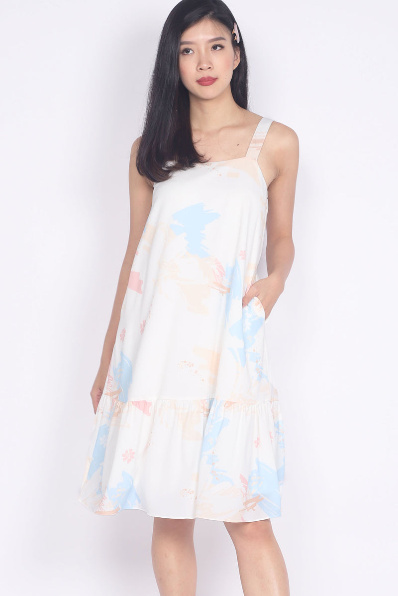 Fiore Abstract Drop Hem Dress In Pastel