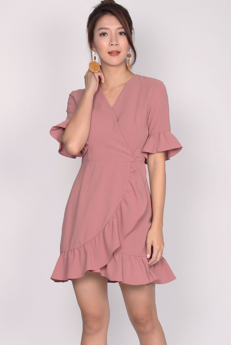 Fiorela Ruffle Faux Wrap Dress In Pink