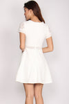 Fleur Lace Sleeved Dress In White