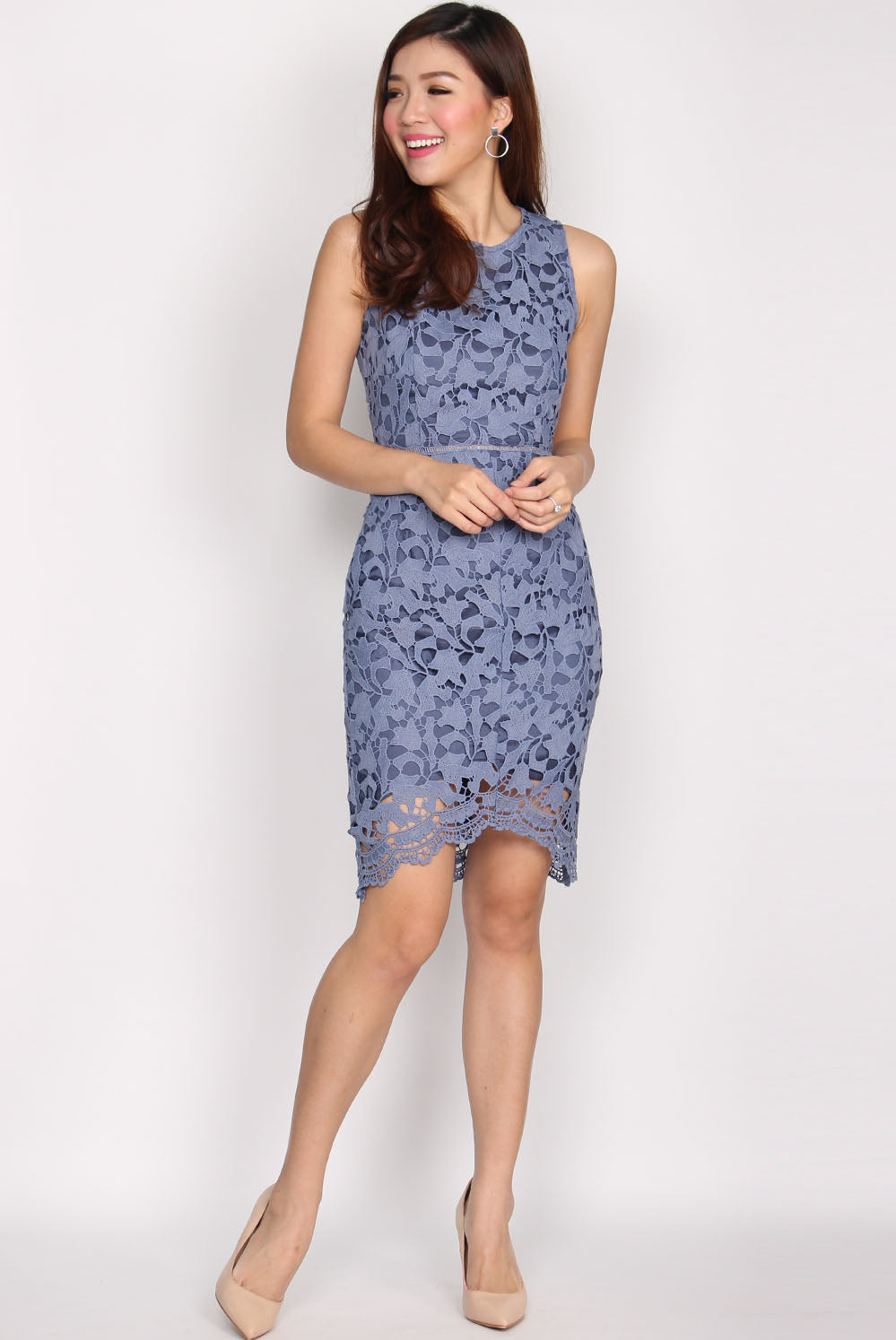 *Restock* Fleurette Fishtail Crochet Dress In Periwinkle