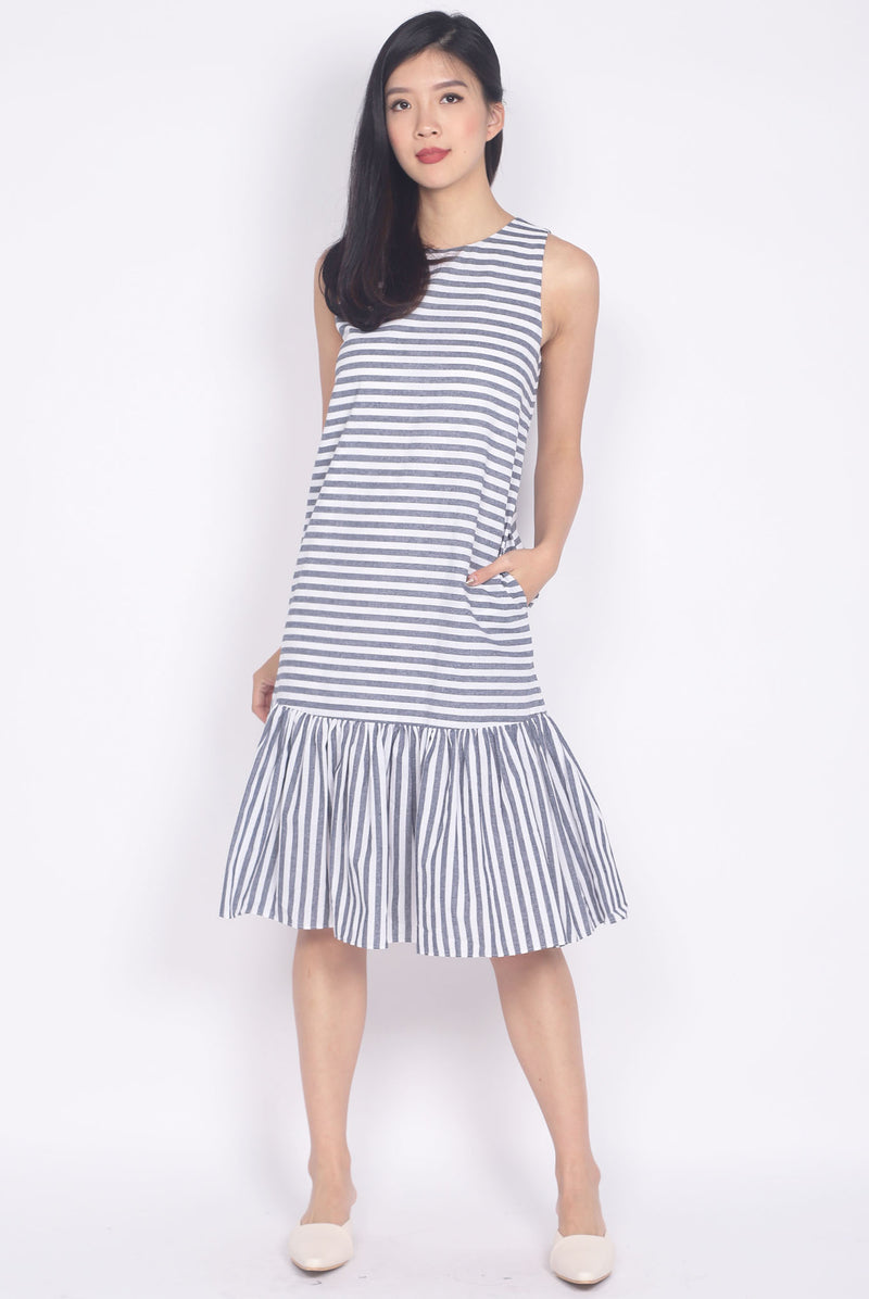 Floriana Stripes Drop Waist Midi Dress In Grey