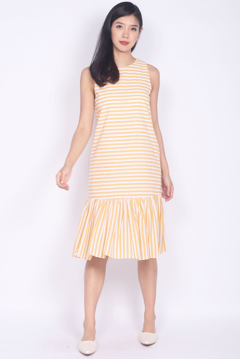 Floriana Stripes Drop Waist Midi Dress In Yellow
