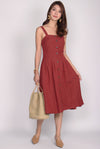 Franci Buttons Linen Dress In Rust