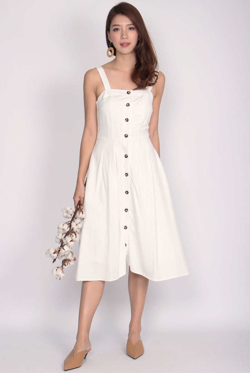 Franci Buttons Linen Dress In White