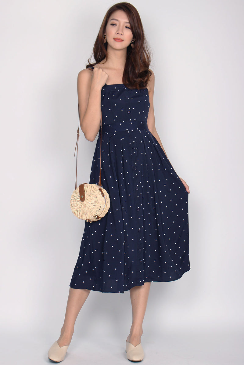 Franci Buttons Sundress In Navy Dots