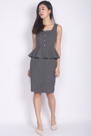 Francoise Buttons Peplum Dress In Dark Grey