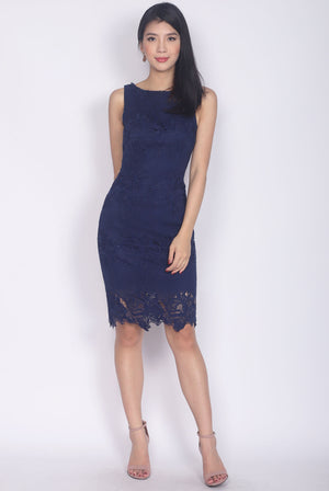 Frenchy Crochet Pencil Dress In Navy Blue