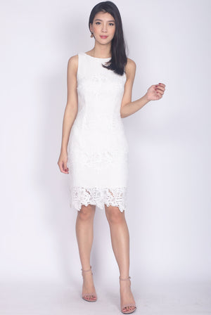 Frenchy Crochet Pencil Dress In White