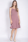 Frey Ruffle Strap Buttons Down Dress In Mauve