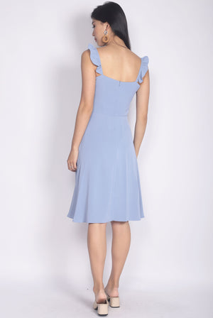 Frey Ruffle Strap Buttons Down Dress In Skyblue