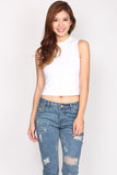 *Restock* Freya High Collar Top In White