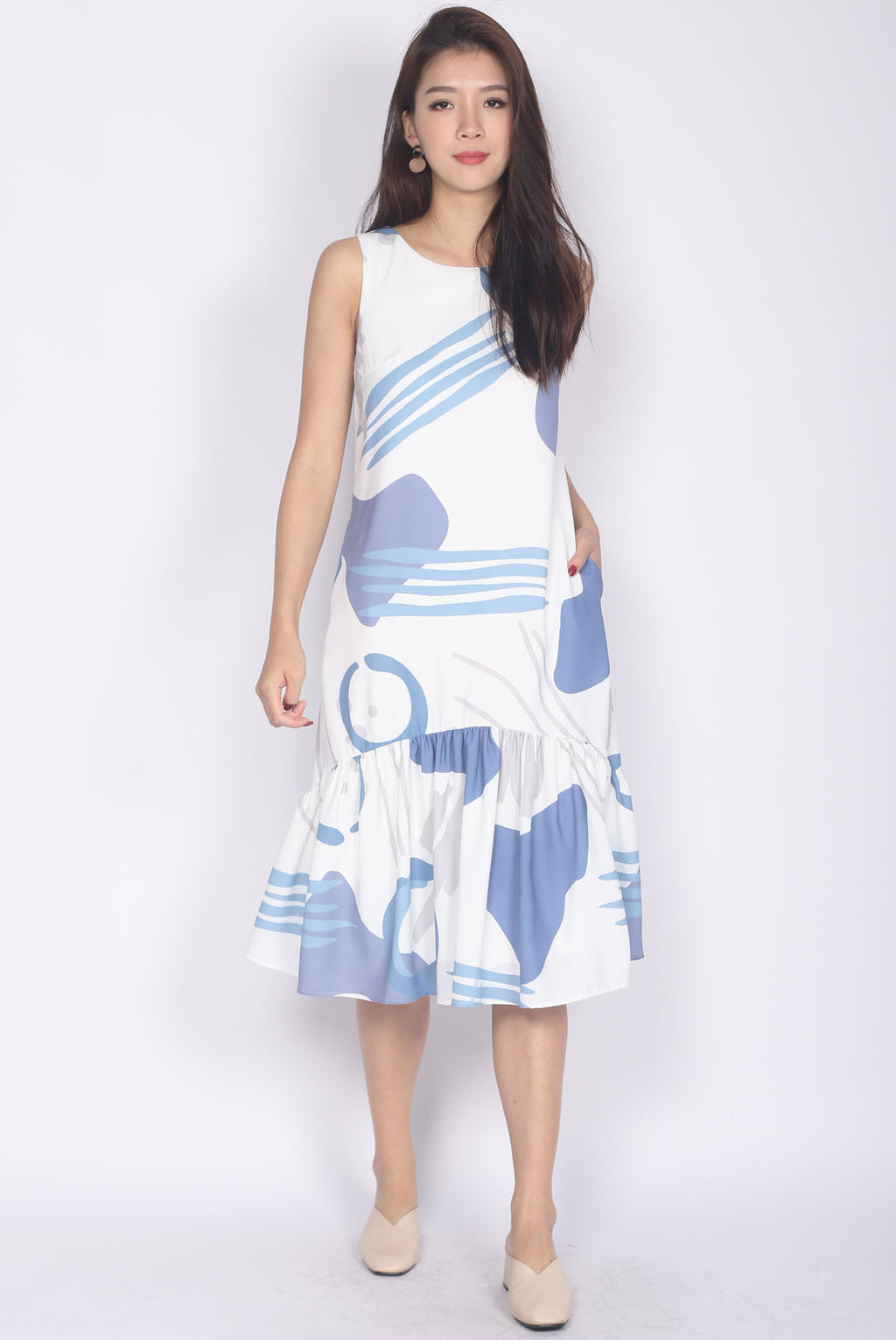 Frith Abstract Belted Drop Hem Dress In Blue