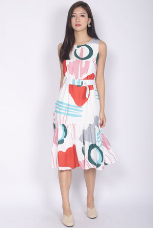 Frith Abstract Belted Drop Hem Dress In Red