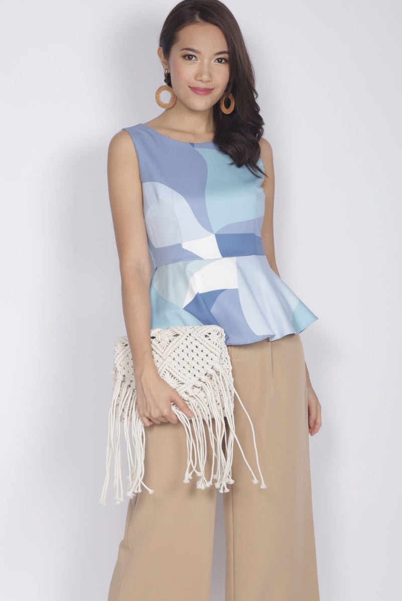 Fronie Abstract Peplum Top In Blue