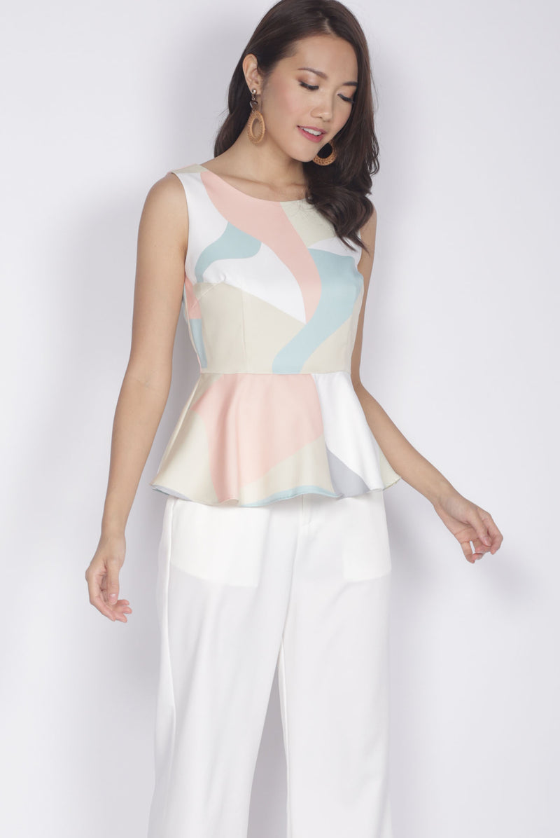 Fronie Abstract Peplum Top In Yellow