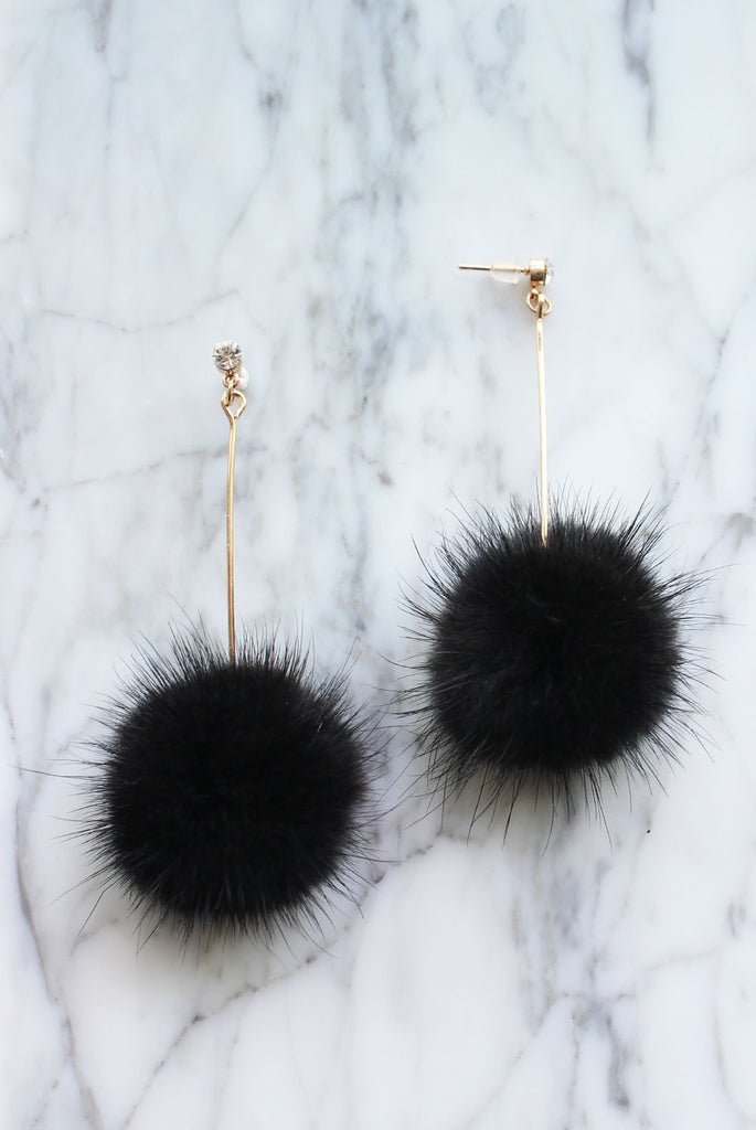 Furry Ball Earrings In Black