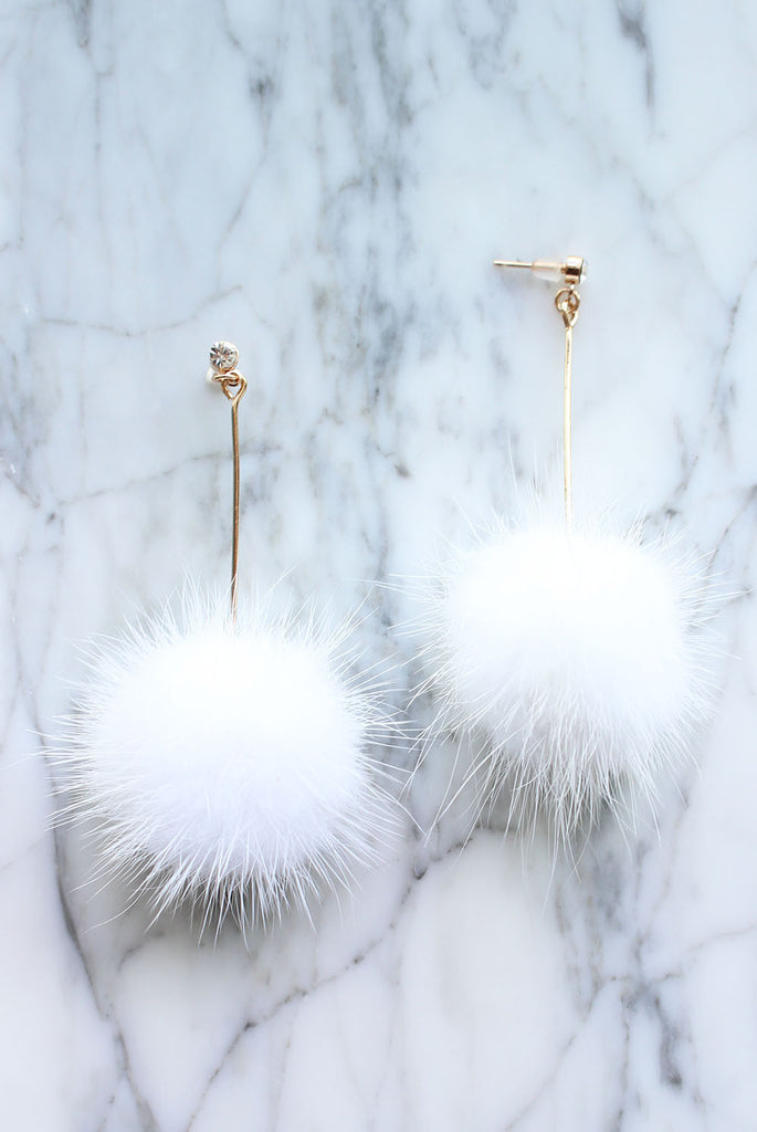 *BACKORDER* Furry Ball Earrings In White