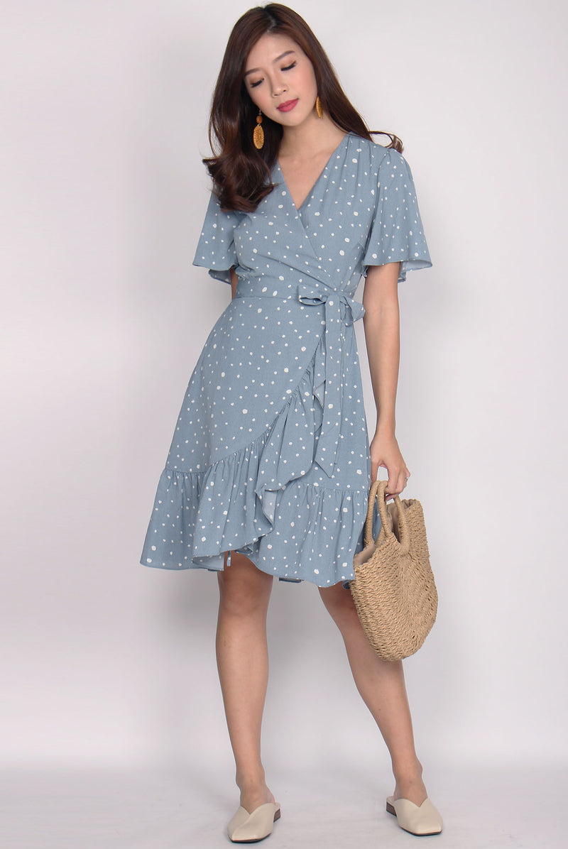 Fyo Ruffles Wrap Dress In Blue