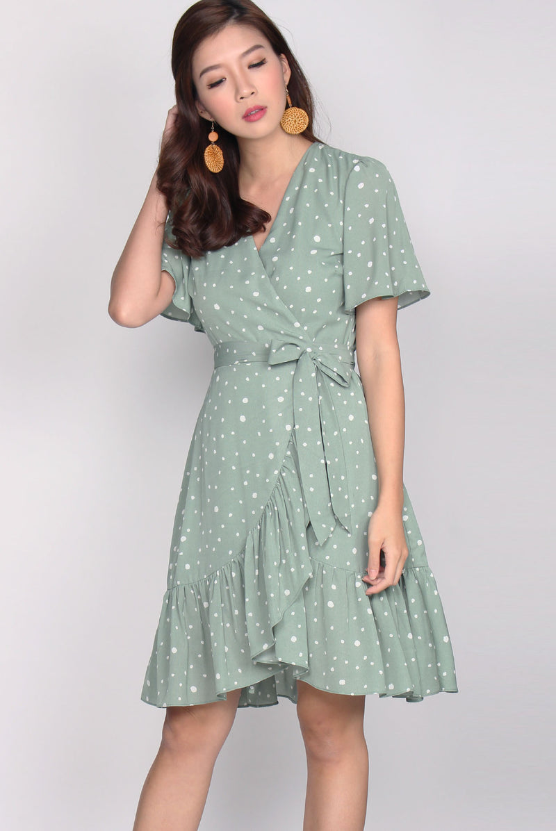 Fyo Ruffles Wrap Dress In Mint