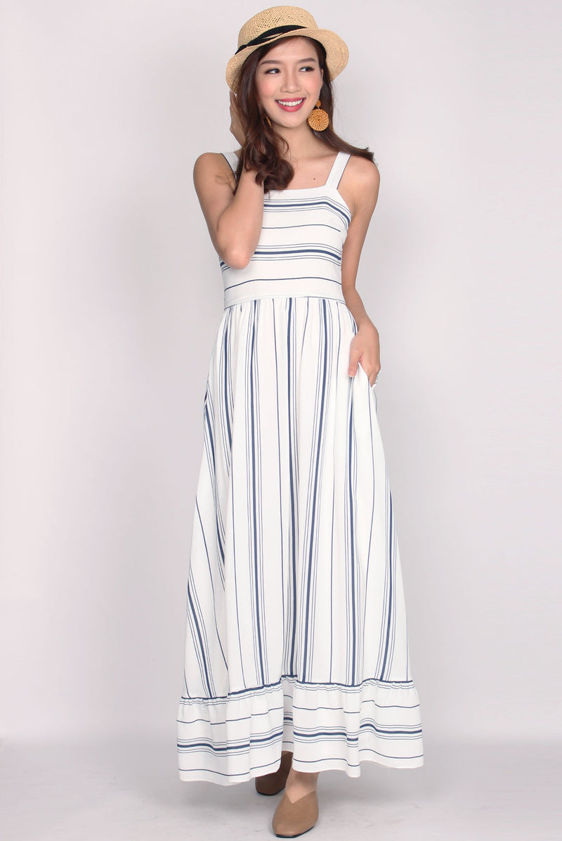 Gabriele Stripes Ruffle Hem Maxi Dress