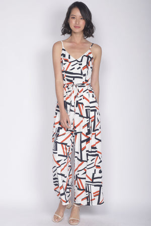 *Premium* Gabrielle Spag Jumpsuit In White/Orange