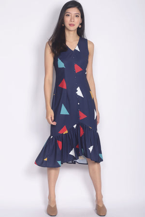 Gaelle Triangle Buttons Drop Hem Dress In Navy Blue