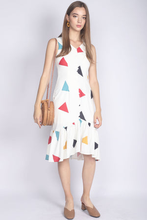 Gaelle Triangle Buttons Drop Hem Dress In White