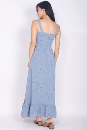 Gailey Polkadot Ruffle Hem Maxi Dress In Blue