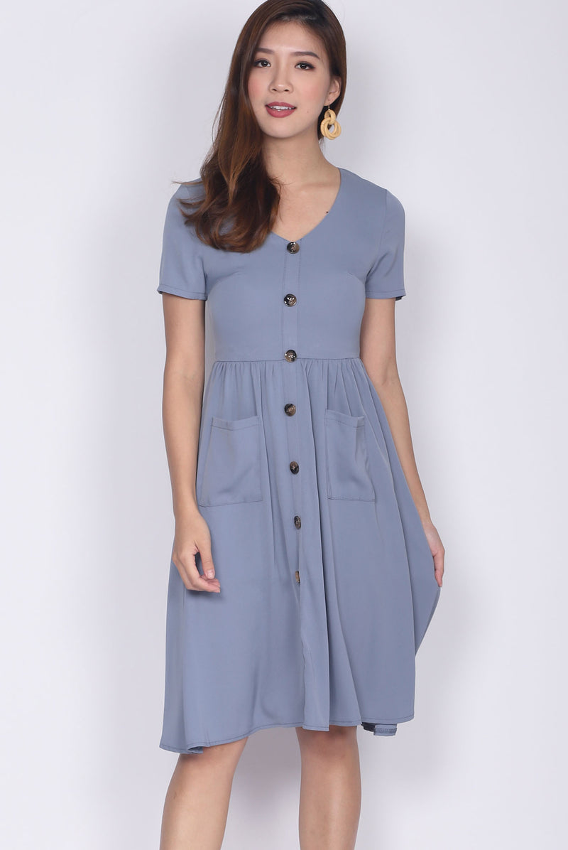 Gainell Buttons Down Sleeve Pockets Dress In Ash Blue