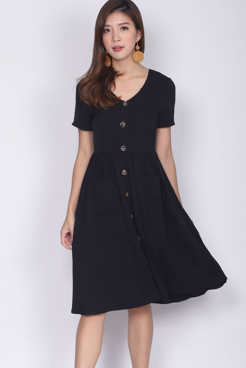 Gainell Buttons Down Sleeve Pockets Dress In Black
