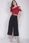 Gala Ruffle Toga Top In Red
