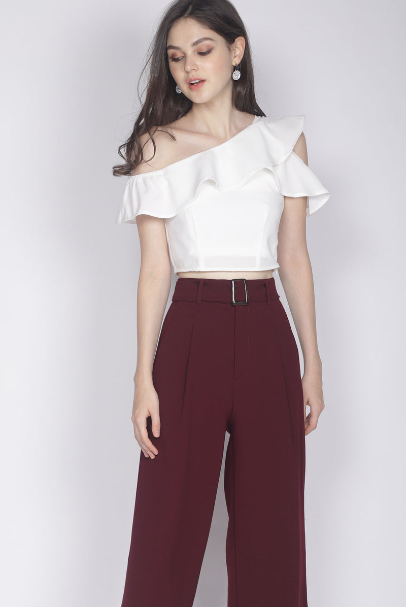 Gala Ruffle Toga Top In White