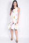 Galen Abstract Cut In Drop Waist Dress In White