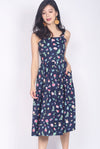 Gardenia Floral Tiered Midi Dress In Navy Blue