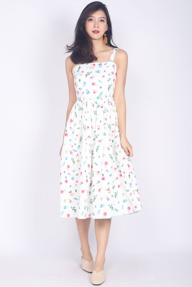 Gardenia Floral Tiered Midi Dress In White