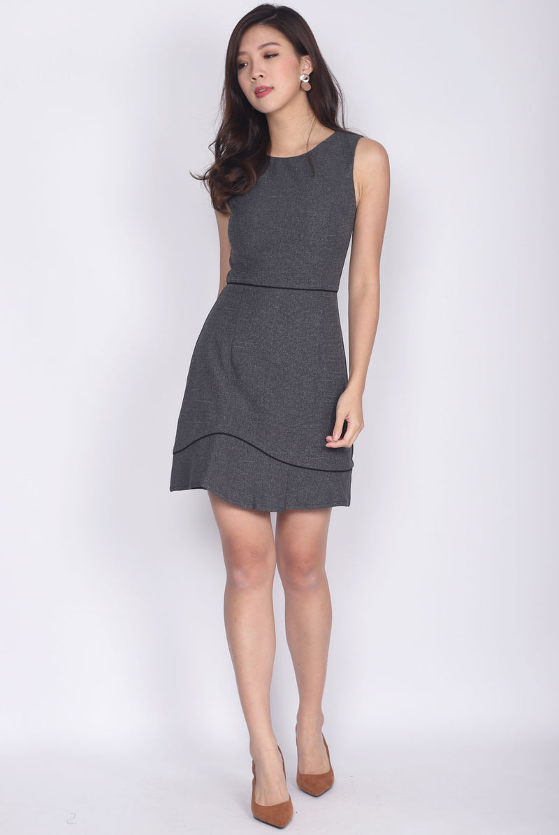 Gaynor Tweed Trim Work Dress In Dark Grey