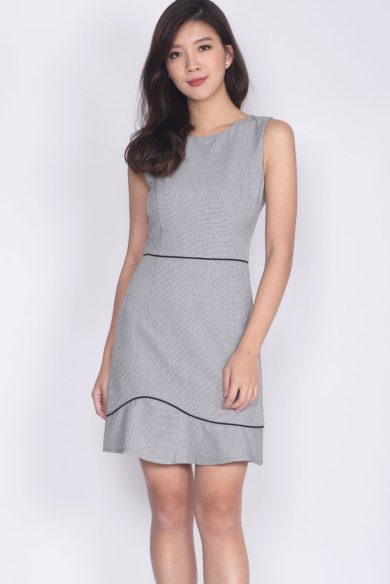 Gaynor Tweed Trim Work Dress In Light Grey