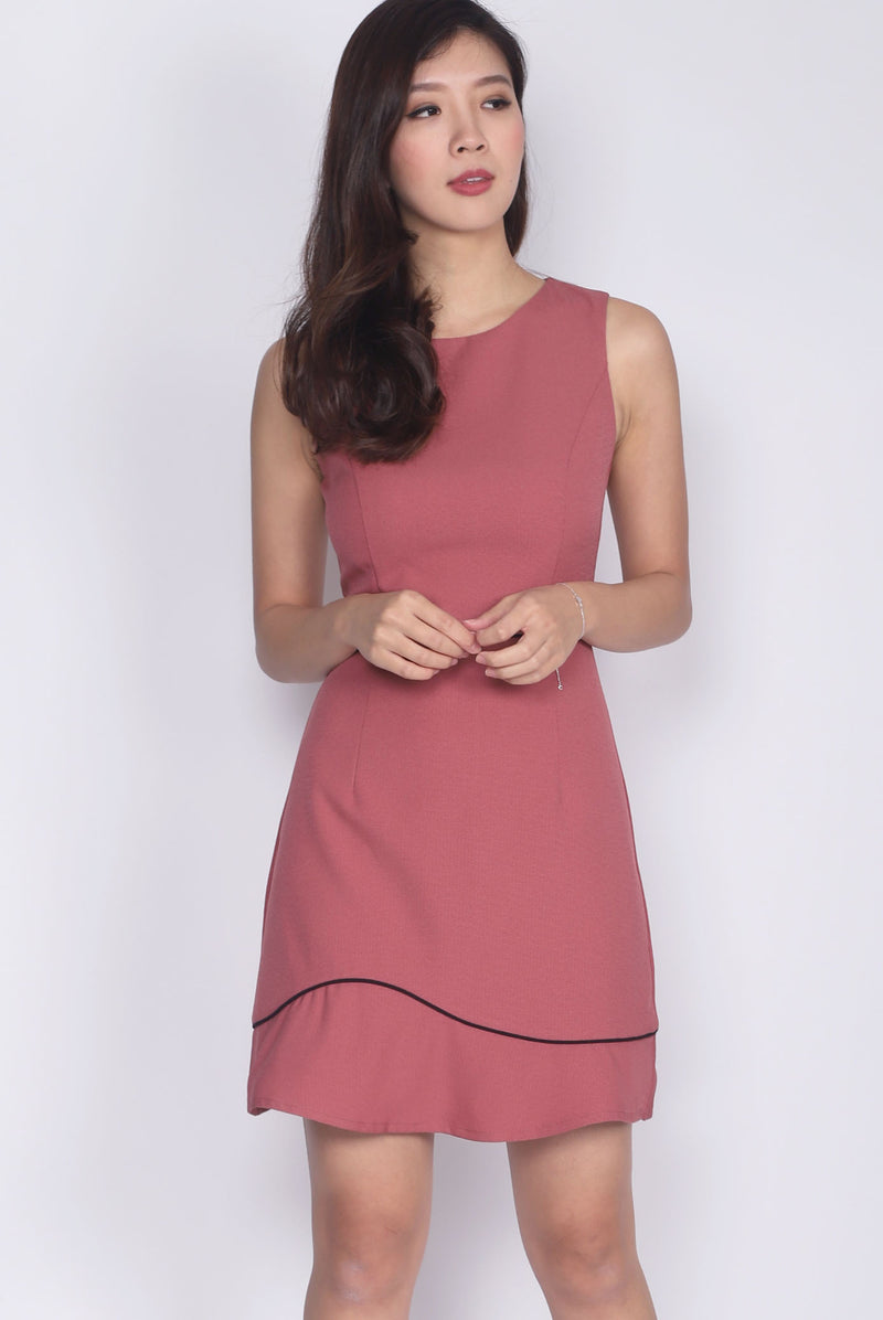 Gaynor Tweed Trim Work Dress In Tea Rose