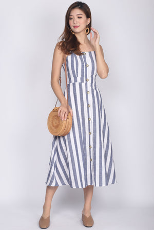 Gazelle Linen Buttons Stripes Dress In Blue