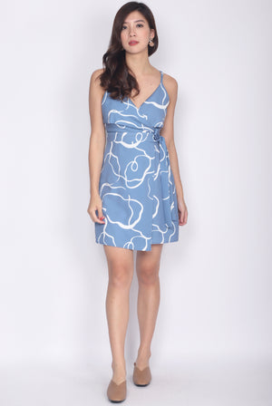 Gelasia Abtract Spag Dress In Dark Blue