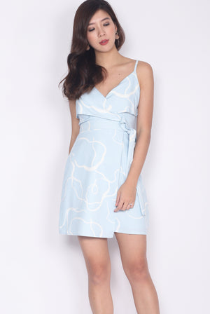 Gelasia Abstract Spag Dress In Skyblue