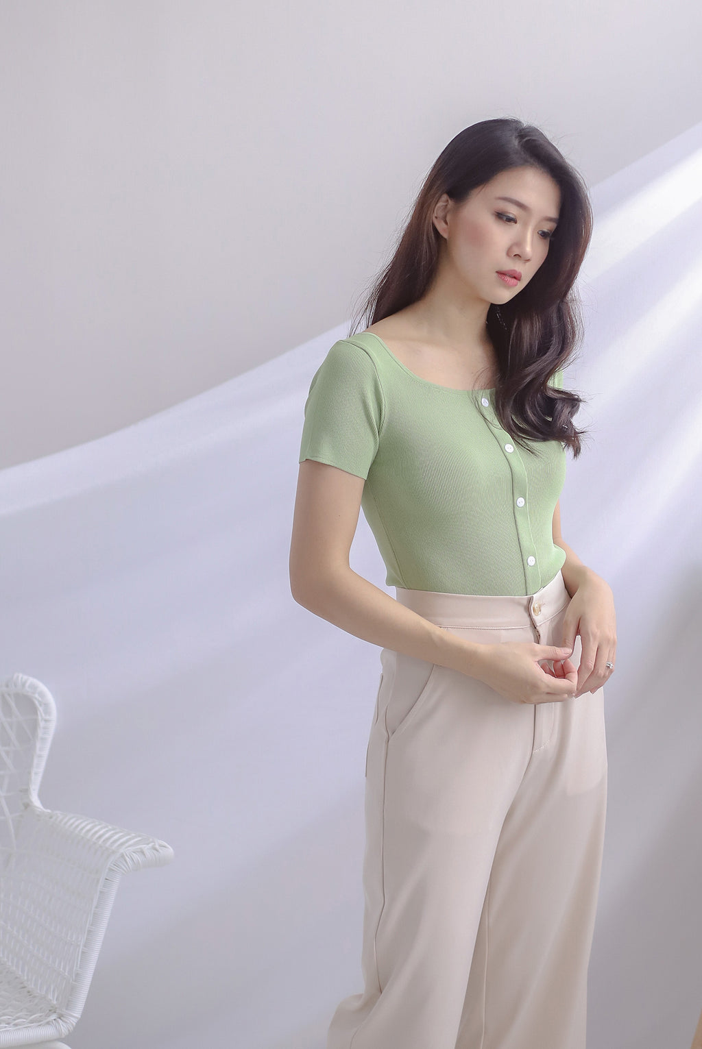 Gem Buttons Square Neck Top In Apple Green