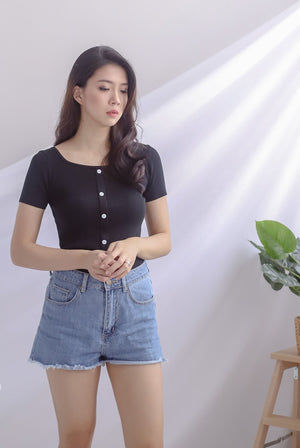 Gem Buttons Square Neck Top In Black