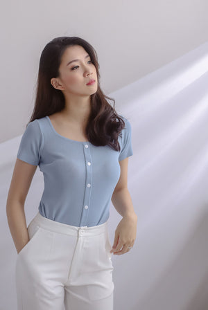 Gem Buttons Square Neck Top In Blue