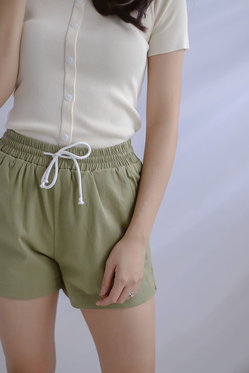 Keri Drawstring Casual Shorts In Pistachio