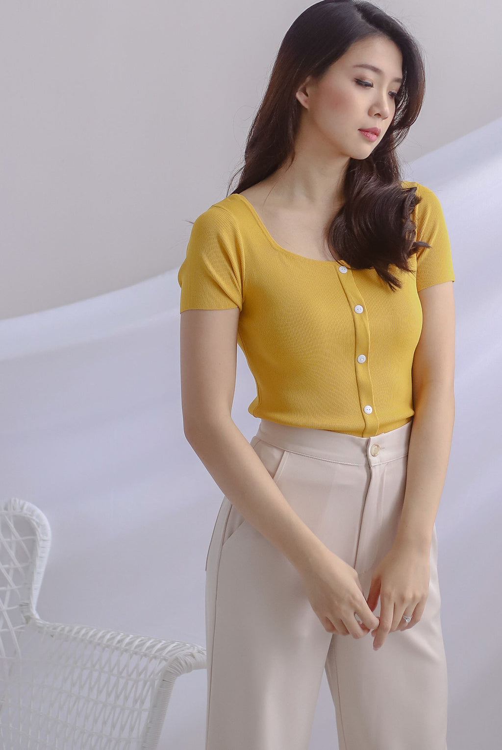 Gem Buttons Square Neck Top In Mustard