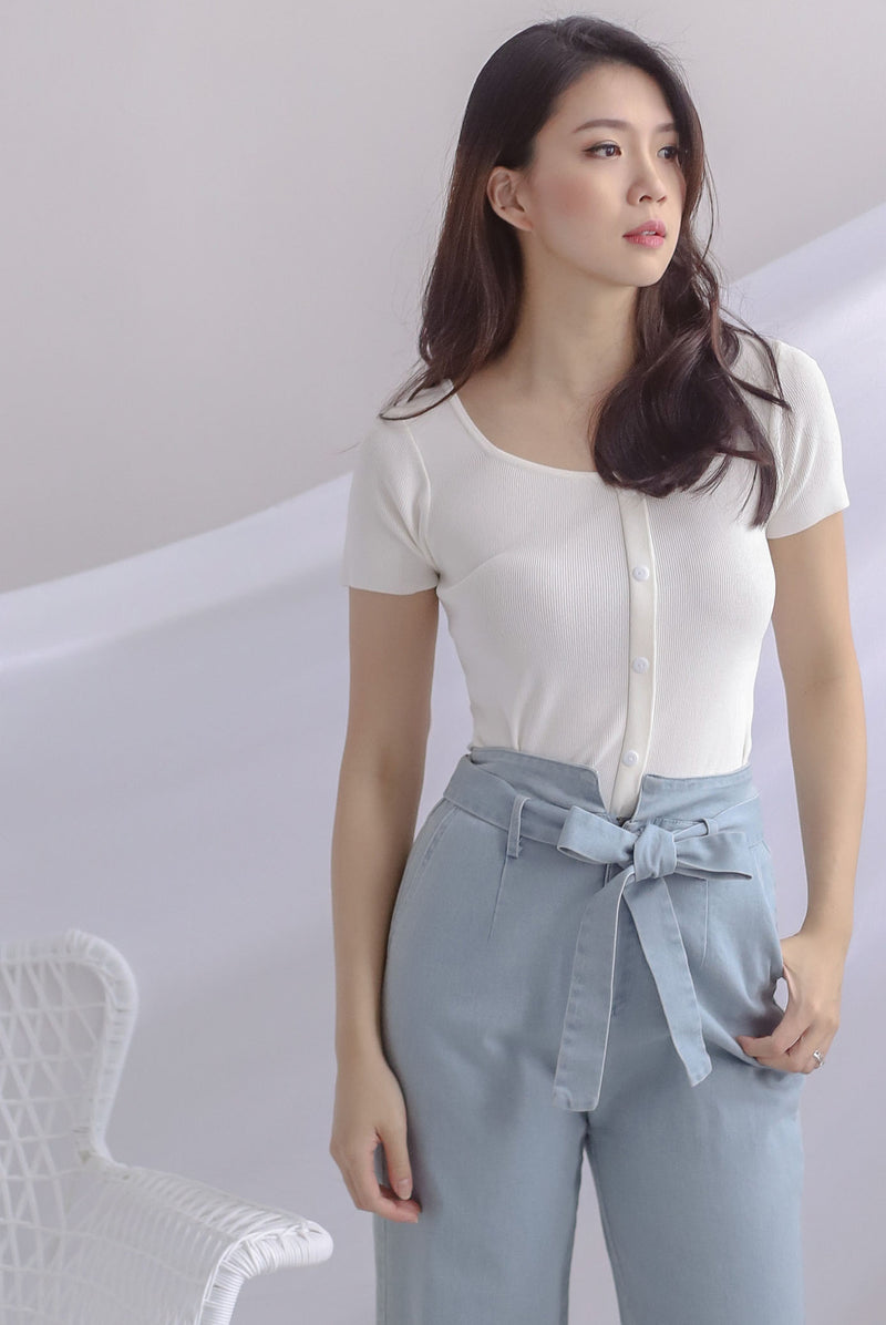 Gem Buttons Square Neck Top In White