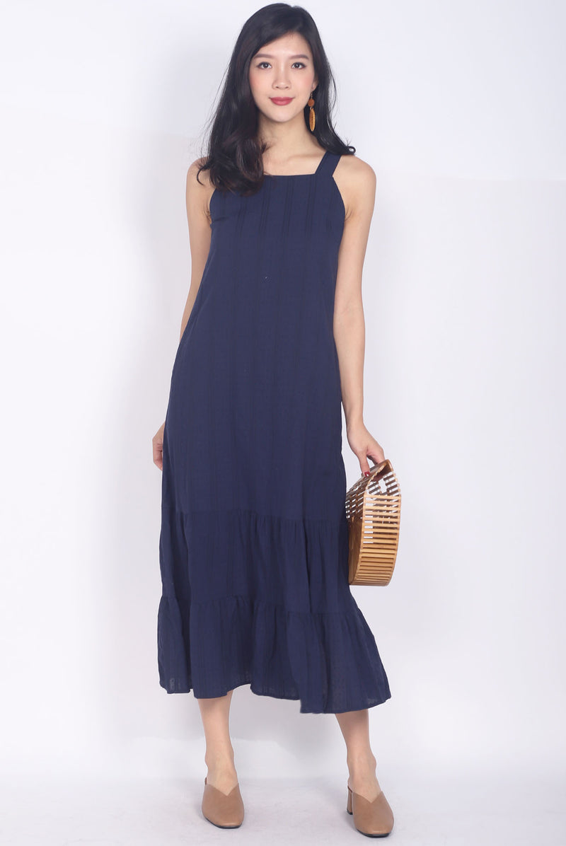 Genesia Eyelet Midi Dress In Navy Blue