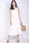Genesia Eyelet Midi Dress In White